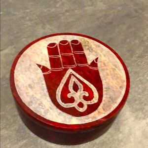 Other - 3/$25! Round Soapstone Box - Red